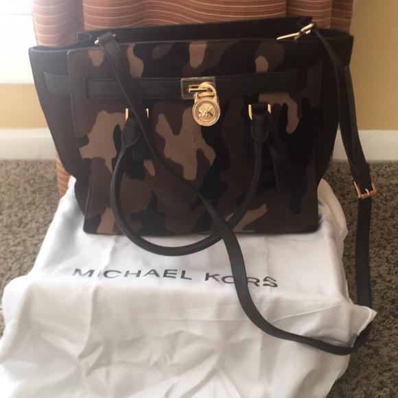 Michael Kors Camo Leather Fur Bag